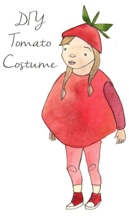 Tomato Costume and other original get-ups for foodies' little trick-or-treaters that are easy to make and inexpensive.