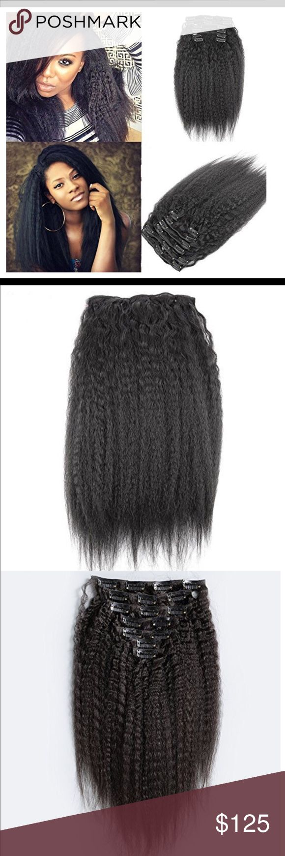 Virgin Kinky straight clip ins 7pcs Spice it up and keep it ethnic! With our Gorgeous Kinky Straight Clip In Extensions.   Please keep in mind this is Kinky Straight Hair which is much Tighter than the regular straight hair, therefore, the hair length is not the same. Please choose longer lengths if you would like your hair to be long.  Quality: 100% Virgin Human Hair, Tangle Free, Shedding Free, Soft Hair  Hair Can be Styled,Cut,Colored,Highlighted,Treated Just Like Your Own Hair  5.Hair…