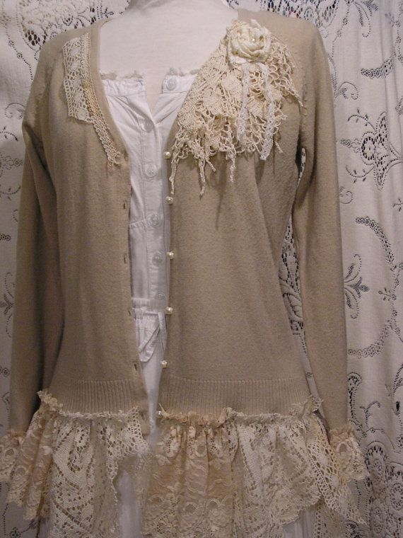Shabby Bohemian Sweater altered couture by TatteredDelicates, $128.00