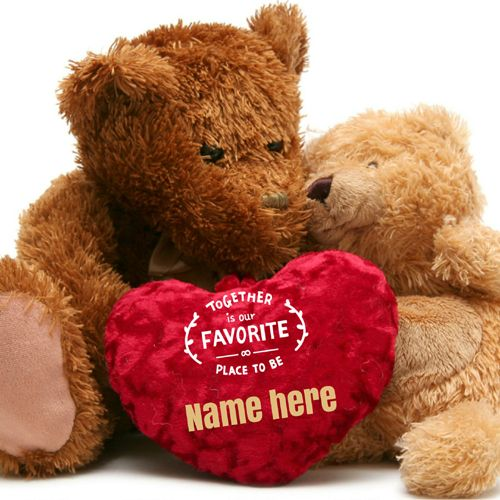 Cute Couple Teddy Holding Heart Greeting With Your Name