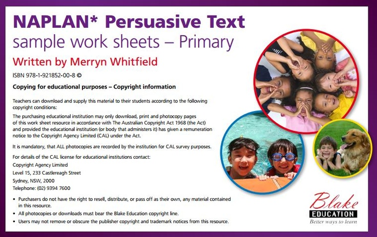 NAPLAN Persuasive Text sample work sheets - Primary