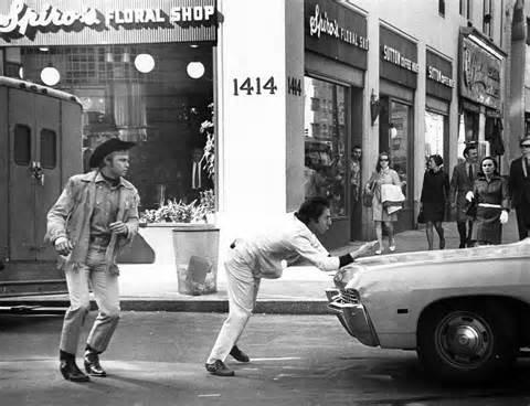 "Dustin Hoffman and Jon Voight in ""Midnight Cowboy"" (John Schlesinger) 1969--- "" I'm walkin' here! """
