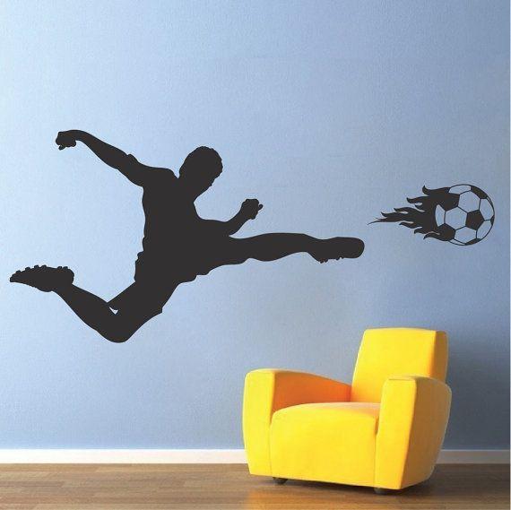 Voetbal speler muur sticker sport muur door TrendyWallDesigns