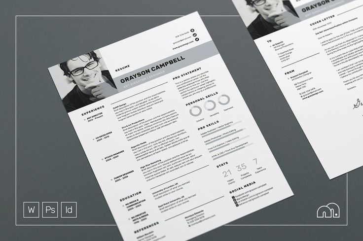 Resume/CV - Grayson - Resume - Modern Resume Template / CV Template + Cover Letter | Professional and Creative Resume | Teacher Resume | Word Resume | Instant Download