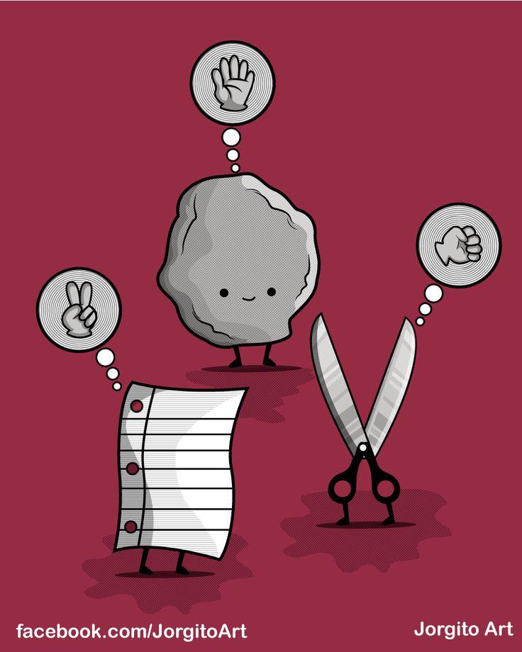 Piedra papel o tijera? #Diseñosparacamisetas #facebook.com/Jorgitoart