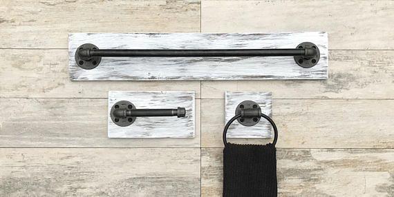 Whitewash Industrial Modern Rustic Bathroom set of 3 Bath Towel Holder/Toilet Paper Holder/Hand Towel Ring/Hanger/Rack/Pipe Bathroom