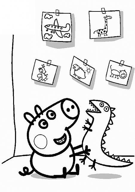 George con dinosauro e quadri