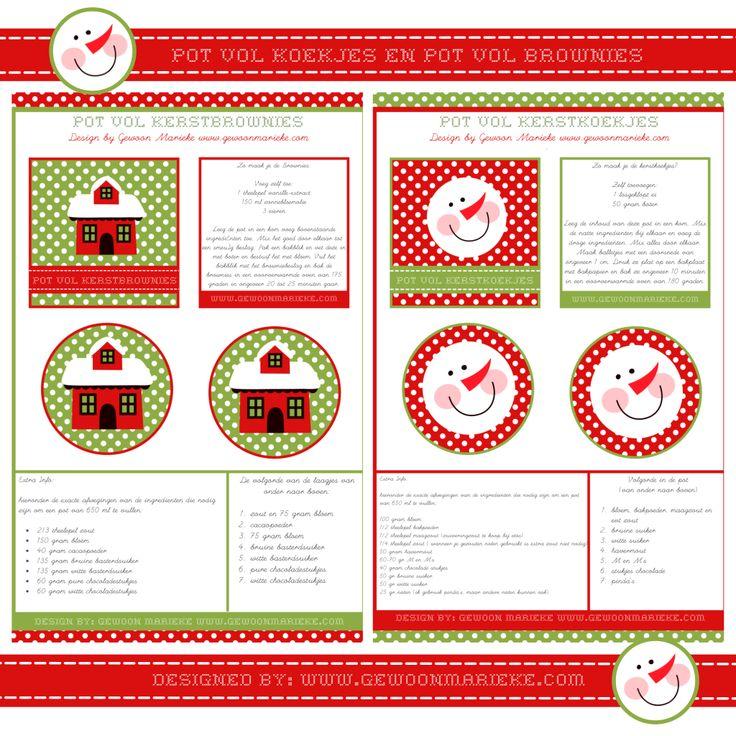 ~Leuke labels voor een pot met kerst-koekjes van Gewoon Marieke~