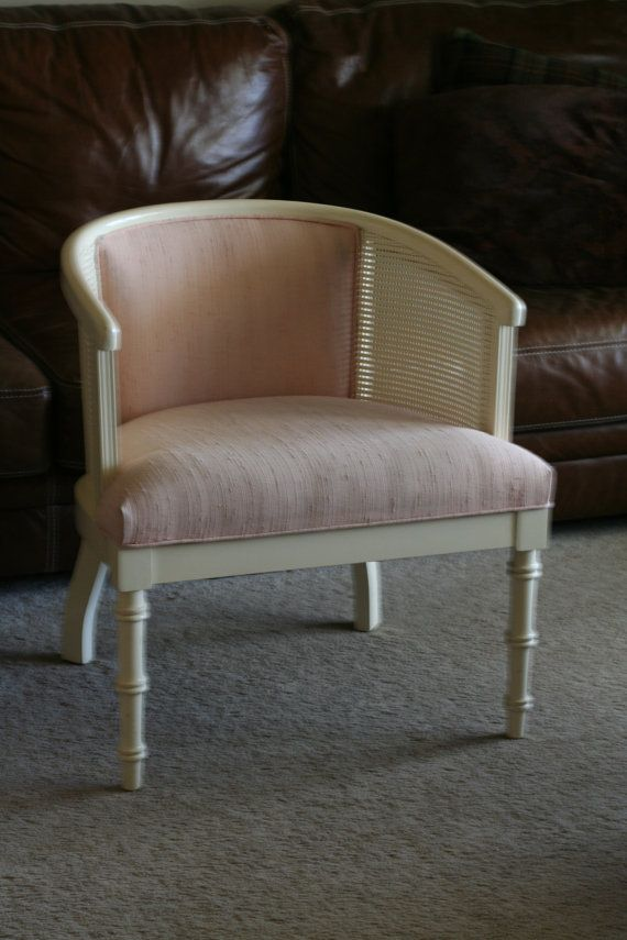 Vintage Morganton Barrel Chair With Cane Sides U0026 Upholstered Seat And Back    Pink And Cream
