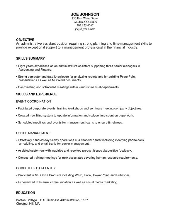 Example of functional resume for a student