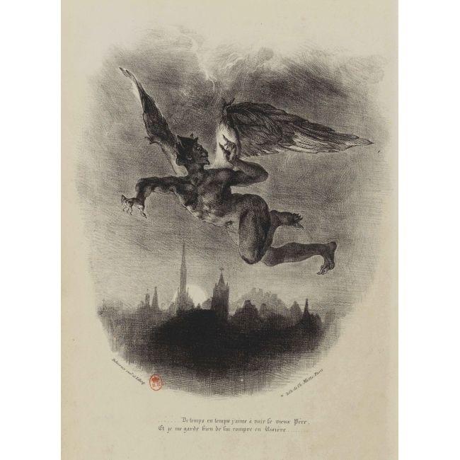 Crédit : Eugène Delacroix Faust : Méphistophélès dans les airs, 1827 Lithographie © BnF