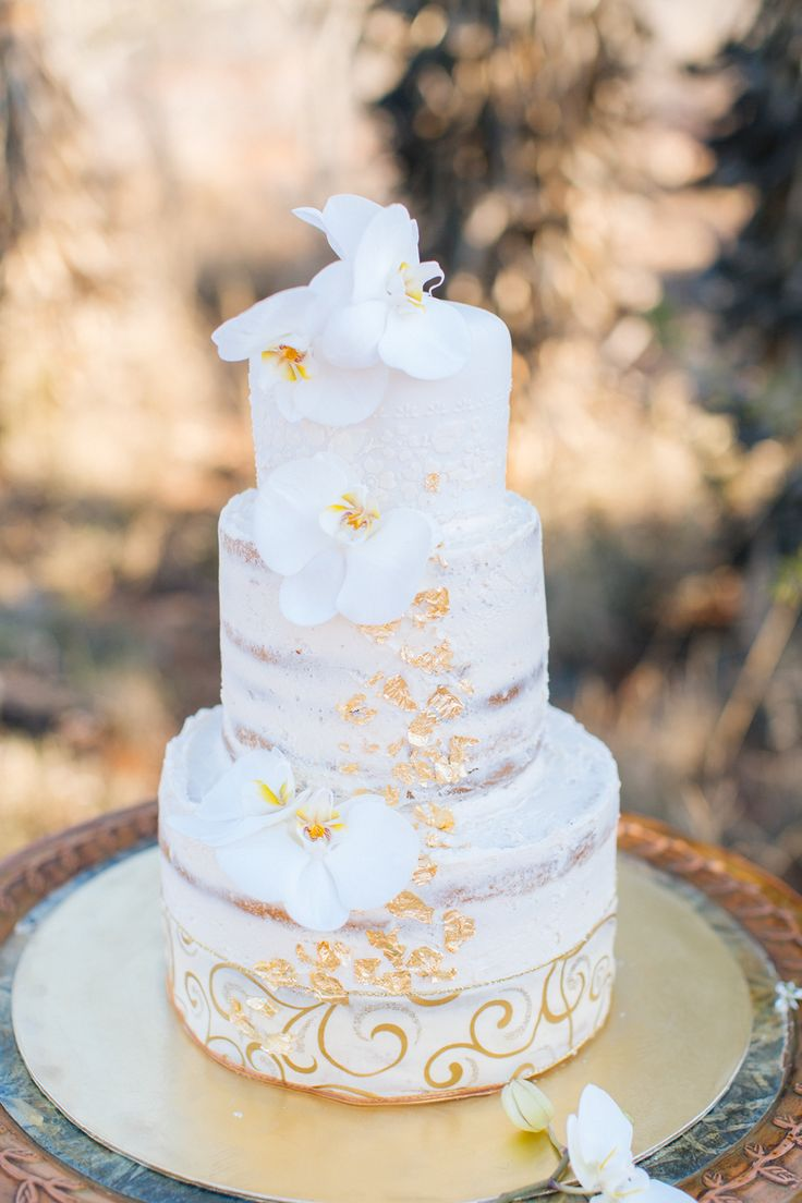 Credit: Charl van der Merwe | Semi-naked cake with gold foil & orchid decorations
