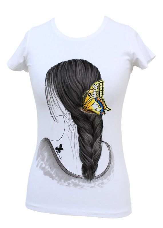 Hand painted T-shirt Girl with butterflywhitehand by Aryonelle
