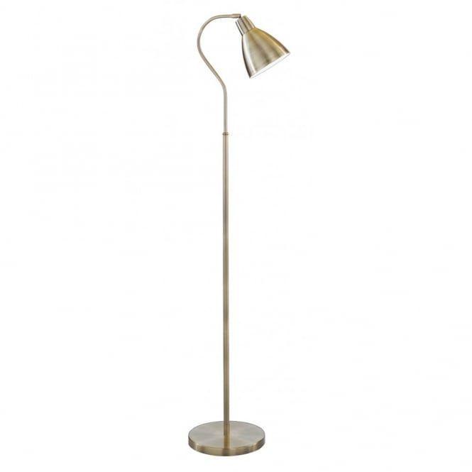£66 minus 20% Floor Standing Lamp in Antique Brass with Adjustable Head