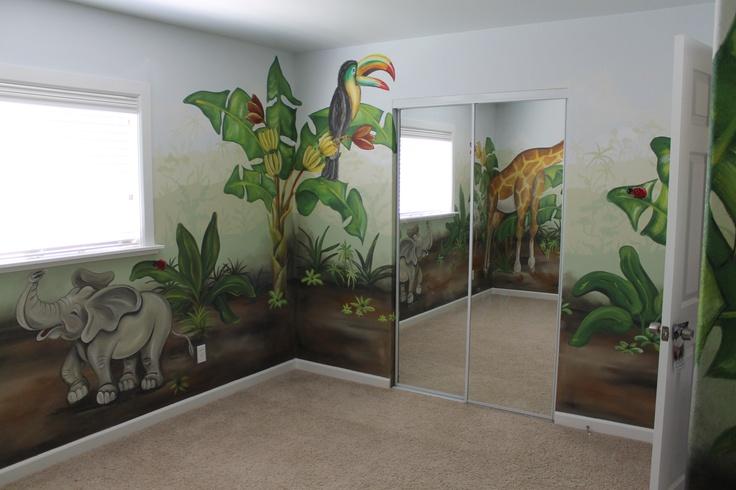 Jungle mural nursery room by Stephanie Hooper at www.WallsTalkFaux.com