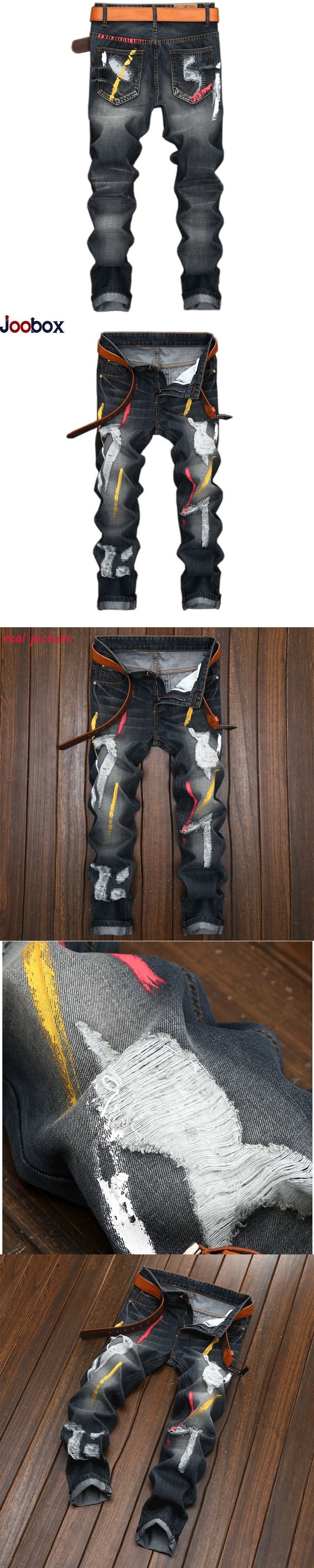 Brand Printed denim jeans men 2017 High quality Hole Personality Retro Straight jeans Men Biker Runway Hiphop jeans masculina