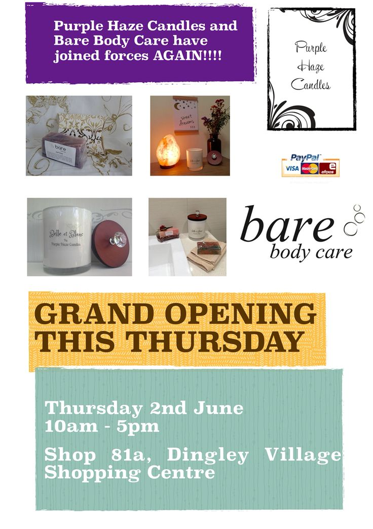 **** Grand Opening Draw ****  For  every purchase from either store, you will receive a raffle ticket to go into a draw  to win.   1 Himalayan Salt Lamp from  Bare Body Care & 1 Bowl Candle of your choice from Purple Haze Candles. Purchases up to $50.00 (1 ticket)  $50.00 - $100 (2 Tickets ) $100 - $150    ( 3 Tickets )  $150 - $200   ( 4 tickets )  This includes refills.  Drawn Thursday 9th June.