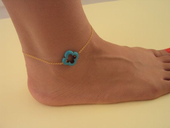 Turquoise Gold ankle bracelet  Beach Gold by VasiaAccessories