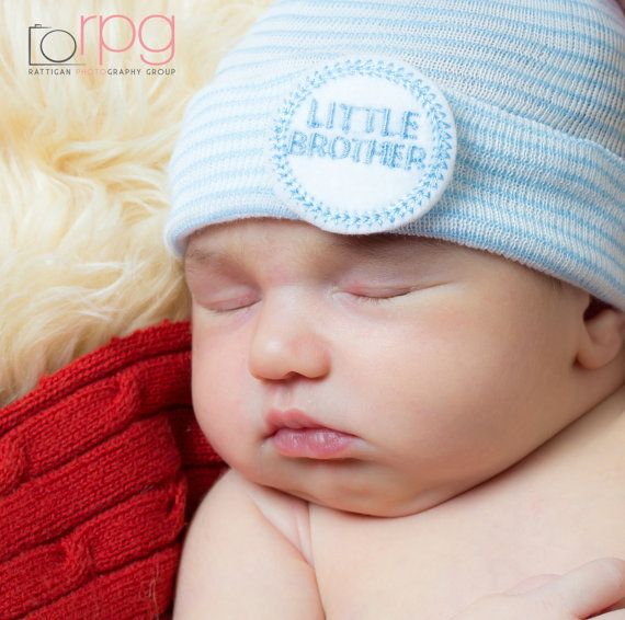 Newborn Hospital Hat for Boys (Little Brother) (infant beanie, boy beanie, newborn boy hat, little brother newborn hospital hat)
