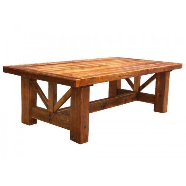 Timber frame gable barnwood dining table trestle table for Dining table frame design