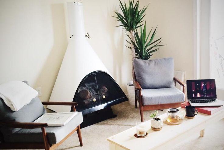 Majestic MidCentury Fireplace     scan, danish, preway, malam, mid-century, midcentury, modern, decor, furniture, interior design, atomic,  cabin, living, mod, white, wood burning vintage