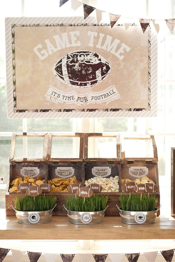 A Neutral & Rustic Style Football Party