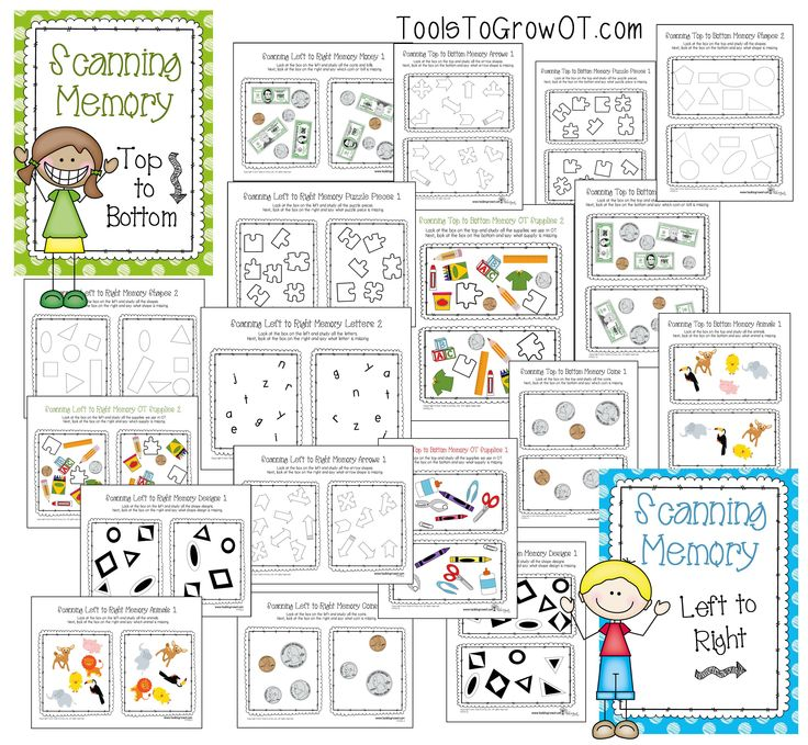 Visual Memory Scanning Resources! Visual perceptual worksheets for Occupational Therapy. www.toolstogrowot.com