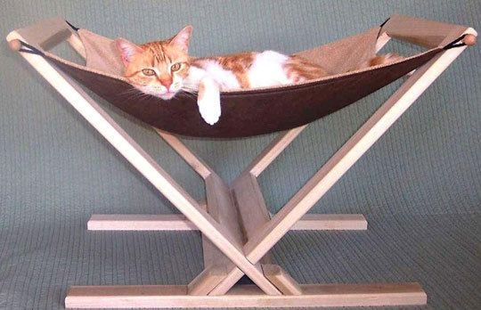 Cat Hammock by Tamar Gilad. This cat hammock assembles in seconds without tools, and can quickly be taken apart for storage and travel.