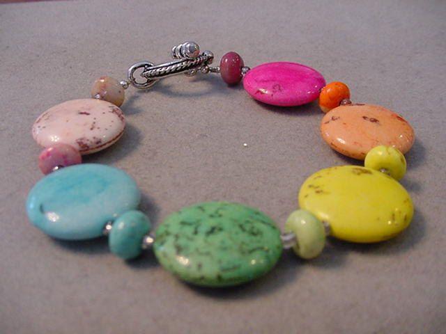 Bright MULTI COLOR Gemstone BRACELET M and M Candy Bracelet Multi Color gemstones by Magicclosetbling on Etsy