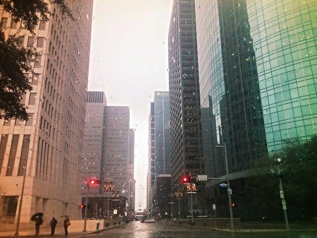 Houston Downtown on rainy day