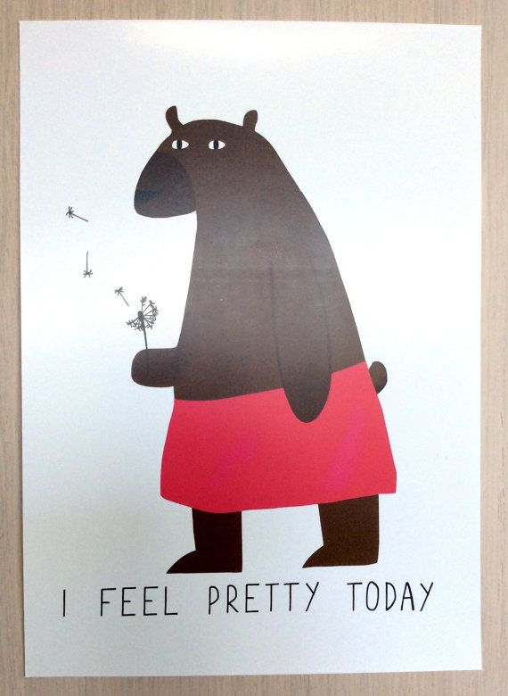 Poster cute bear // I feel pretty today // A4 print by UshiStore