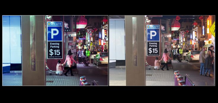 Before/after of one my finals.  I cropped the image to focus more on the main action. Enhanced the lighting from the left and from the shop in the street.
