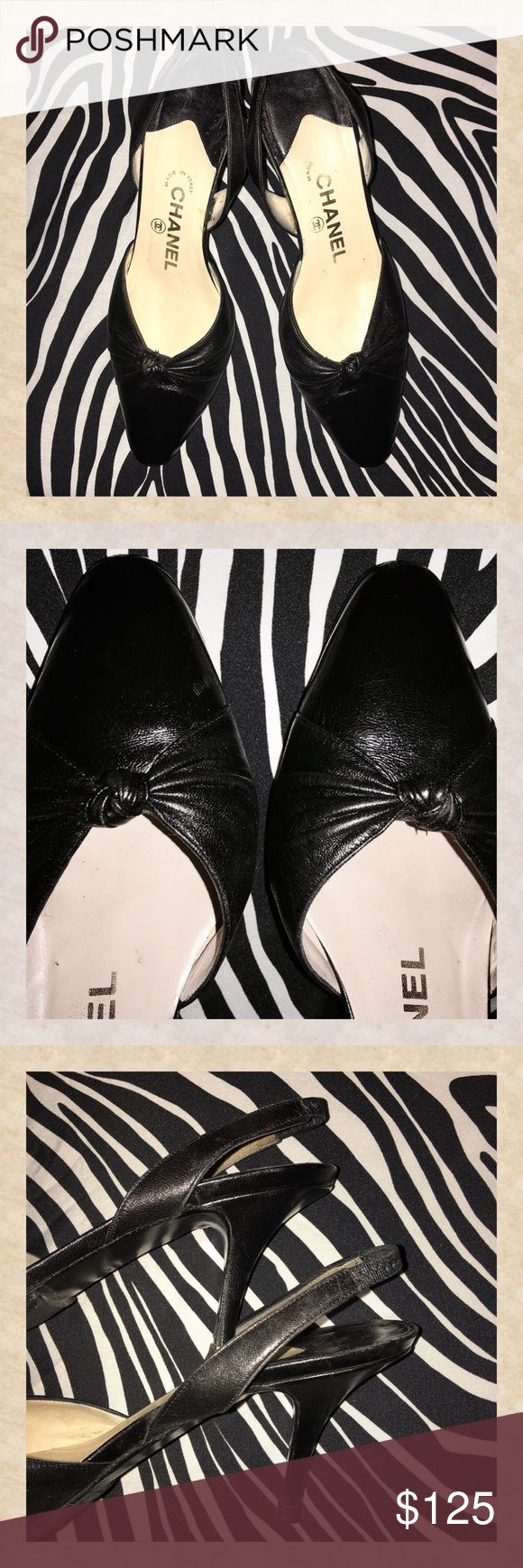 CHANEL Slingback Pumps Soft black leather. Just had new tread put on leather soles.  Made in Italy 🇮🇹 CHANEL Shoes Heels