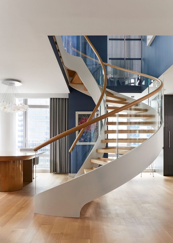 Cute CAST Curved Staircase Stars in NYC Condo Designed by Cortina u K ll