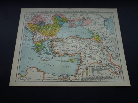 TURKEY history map 1910 original old Dutch map by DecorativePrints