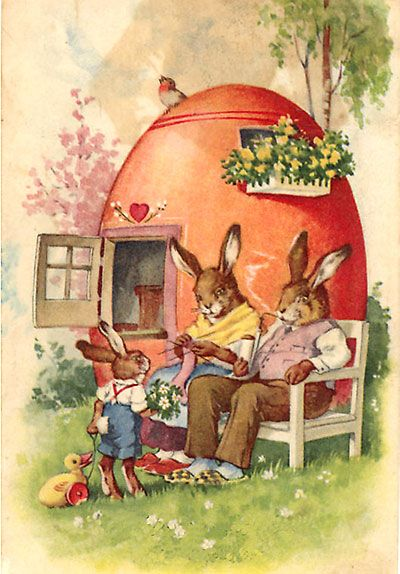 Vintage Easter illustration - I love the little egg house.