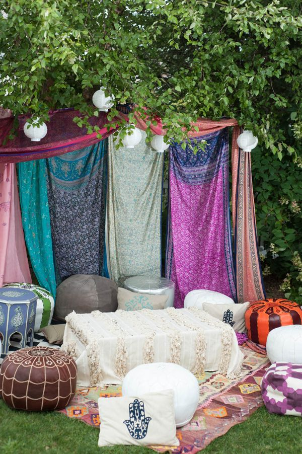 Boho outdoor lounge for Endless Summer Party.