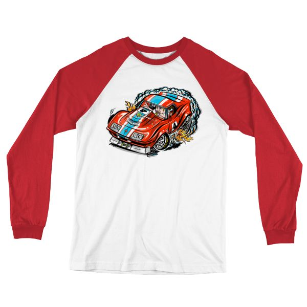 Long Sleeve Baseball Jersey Hot Rod Cartoon 1968 Corvette Race Car T-Shirt. Show your love for vintage racing Vettes with this comfy jersey style long sleeve shirt. The same image is on the back in a label size and location. Bringing back a retro style in soft jersey with contrast color collar, raglan sleeves, and …