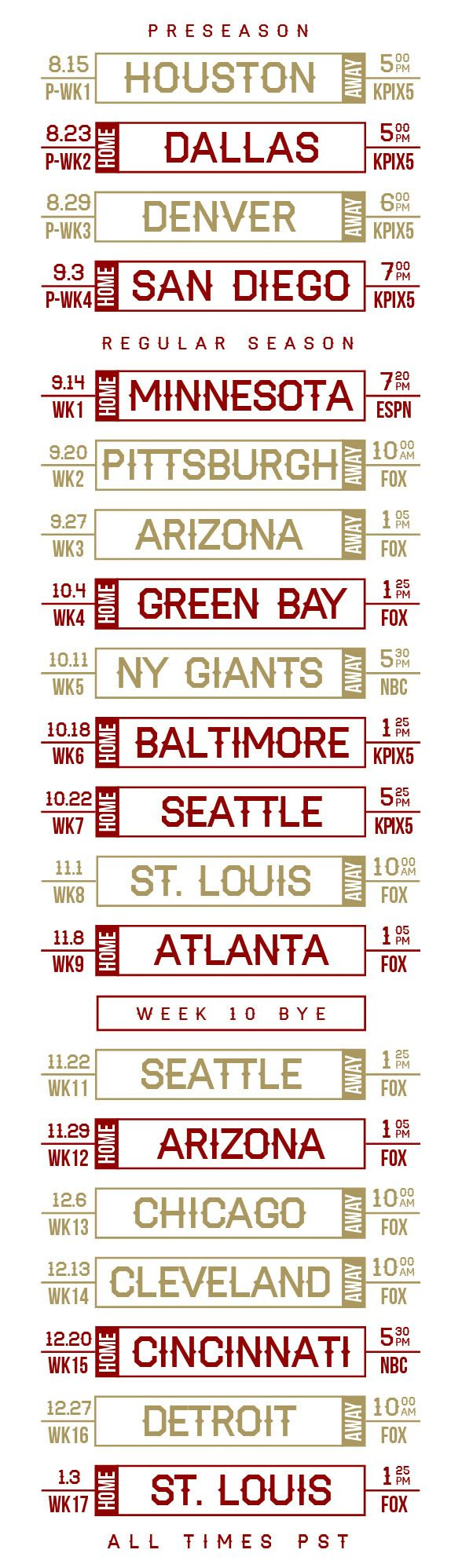 San Francisco 49ers 2015 Schedule Announced