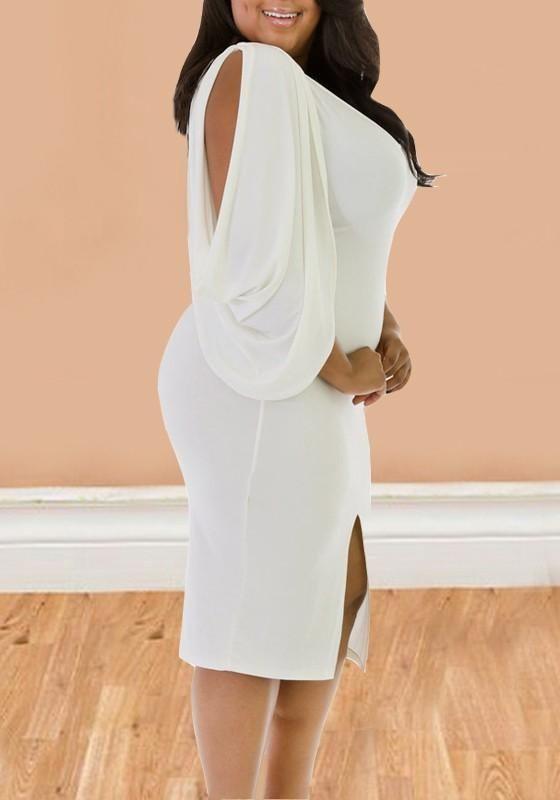 17b6d24c403b7 White Cut Out Pleated Slit Plus Size V-neck Bodycon Banquet Party Midi Dress