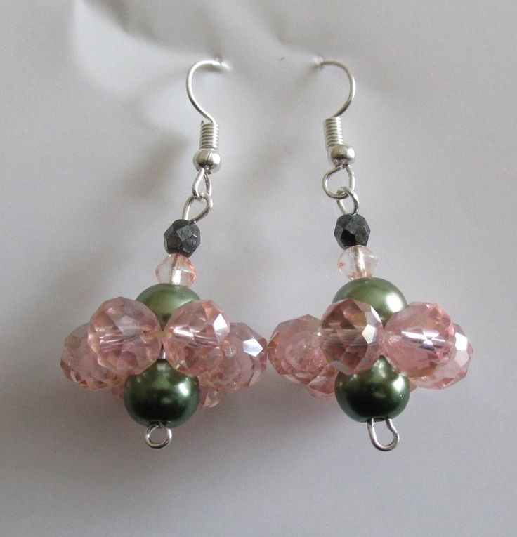 black crystal, olive green pearl and pink crystal flower earrings