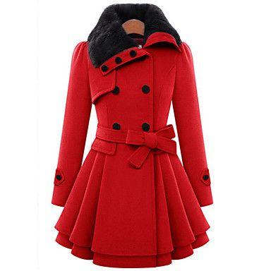 Casual/hétköznapi+Csinos+Téli-Női+Kabát,Egyszínű+Állógallér+Hosszú+ujj+Piros+/+Barna+Gyapjú+/+Pamut+Vastag+–+CAD+$+45.86