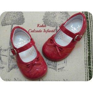Zapatos niña - Calzado infantil -Merceditas rojas Landos