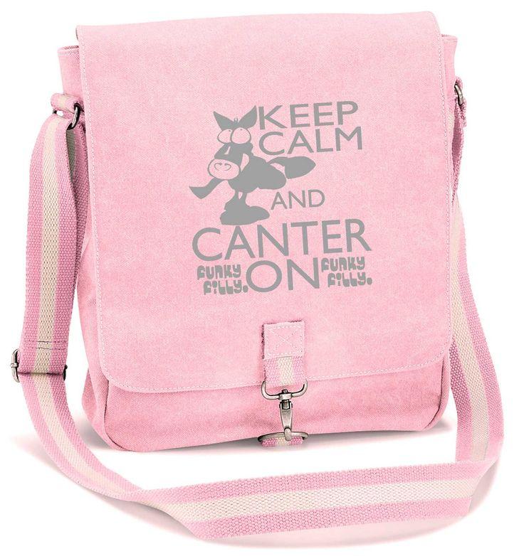 Keep Calm and Canter On Vintage Canvas Messenger Shoulder Bag Baby Pink