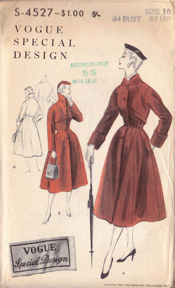 1950s GORGEOUS Shaped Coat Pattern Vogue by allthepreciousthings