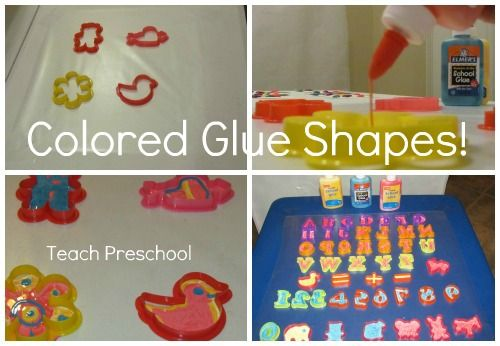 DIY colored glue letters, numbers, and shapes for the light table from Teach Preschool