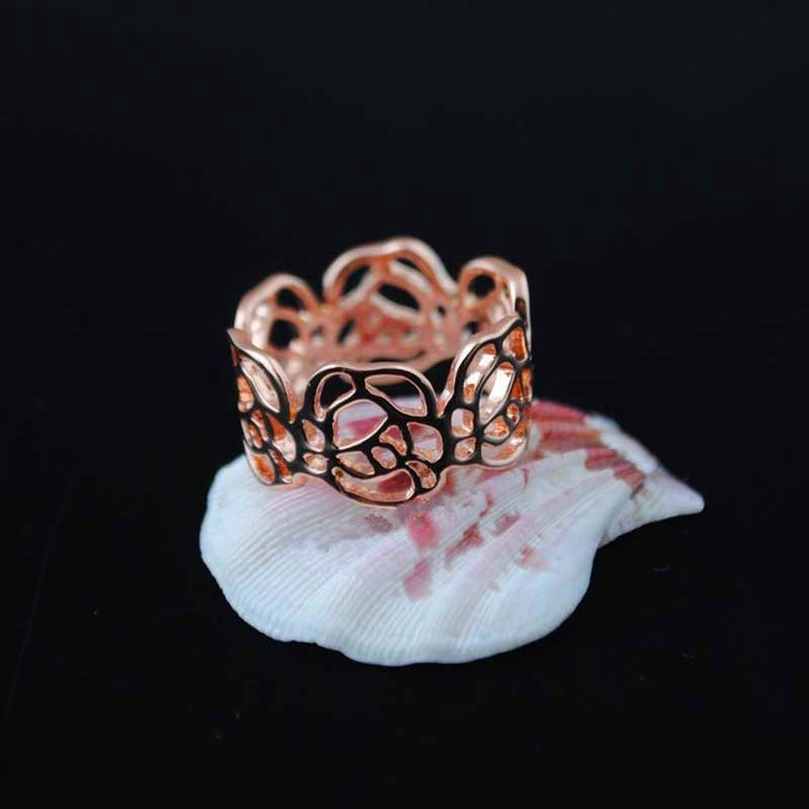 G43 Rose Gold filled Overlay Jewelry Party bague Hollow Out Rings for women wedding Ring engagement Accessories
