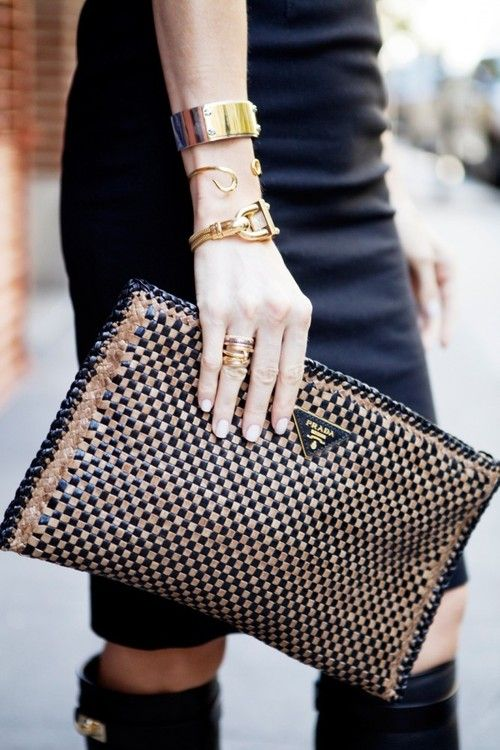 Black & Gold - Prada clutch, boots, pencil skirt and arm party. :)