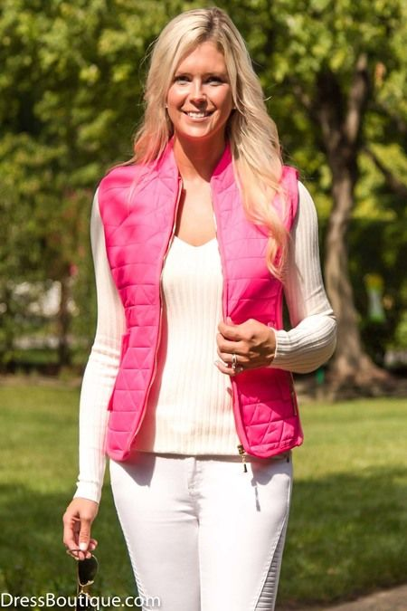 If you're lively and fun, you'll be captivated by this Women's Bright Pink Zip-Up Vest.Find all the latest styles and top quality at DressBoutique.com. #vest #fashion #outfits