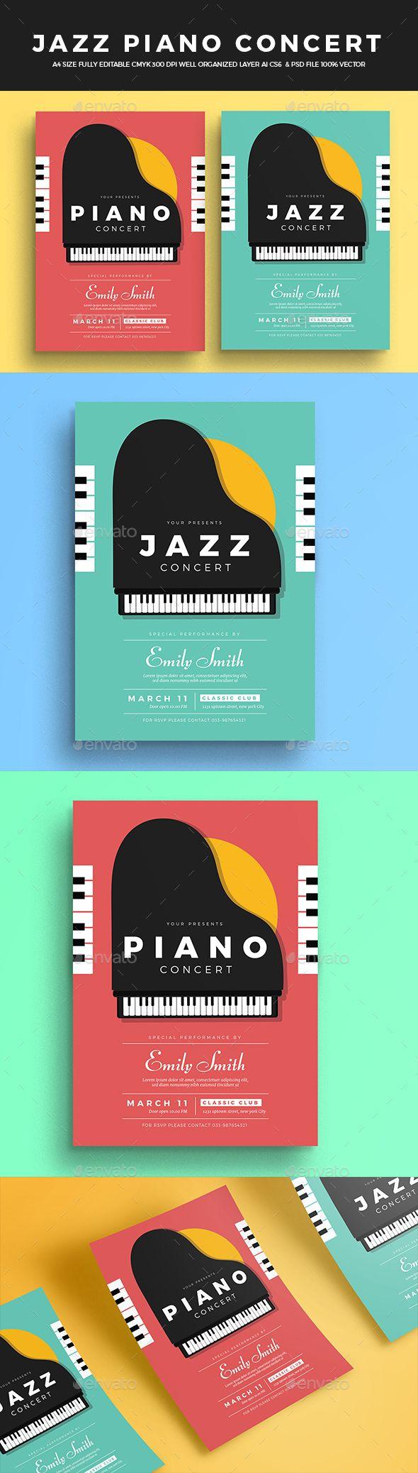 Jazz Piano Concert Flyer — Photoshop PSD #festival #simple • Download ➝ https://graphicriver.net/item/jazz-piano-concert-flyer/19561346?ref=pxcr